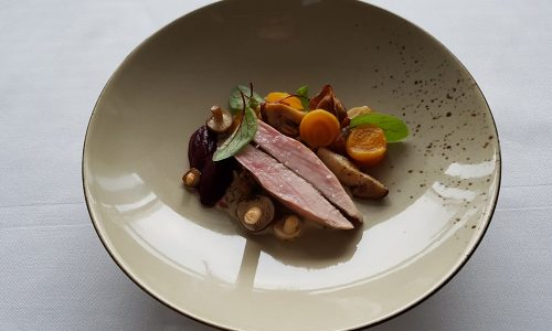 Quail breast with turnips, mushrooms and emmer