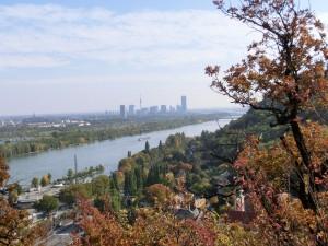 Kahlenbergerdorf mit Uno City und Donauturm im Hintergrund