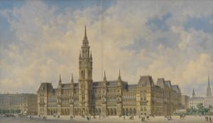 Friedrich-von-Schmidt-Siegerentwurf-für-das-neue-Wiener-Rathaus-1869-Aquarellierte-Federzeichnung-©-Wien-Museum