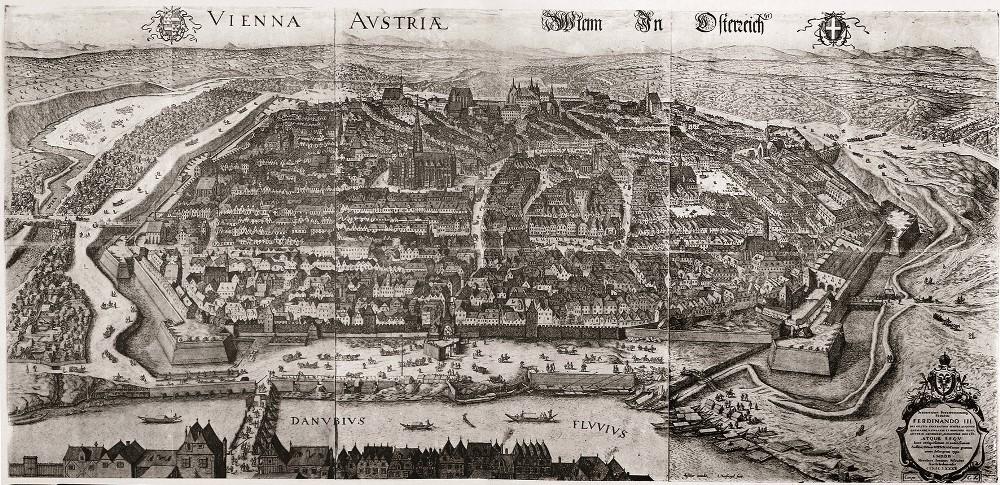 Vogelschau auf Wien von Norden, 1609 (WStLA)