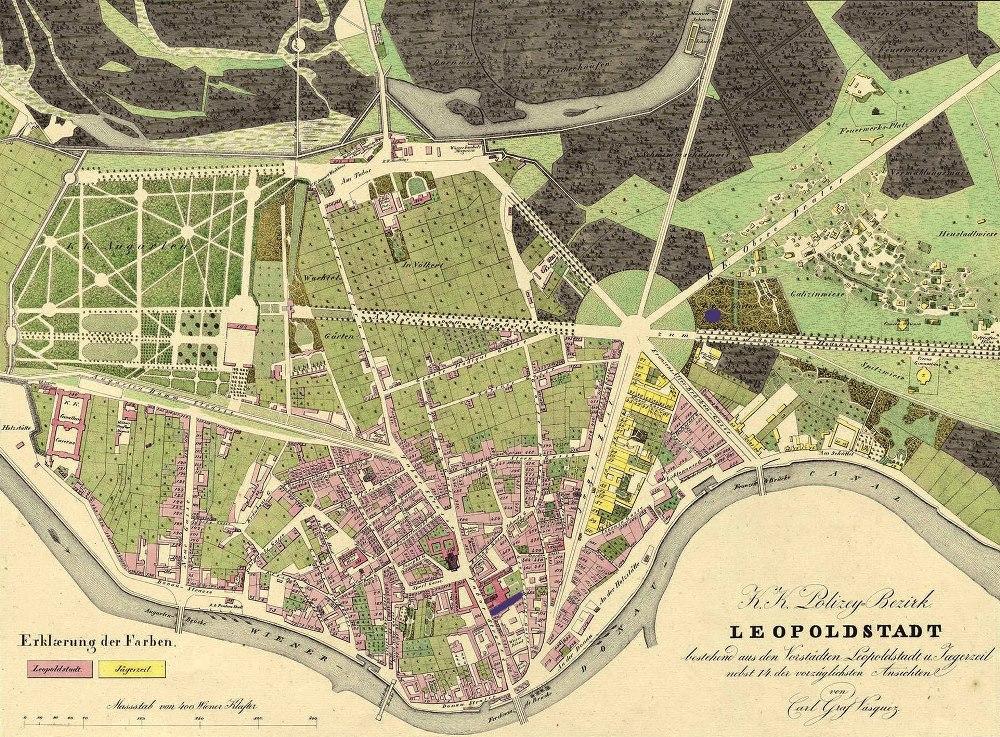 Plan von Graf Vasquez, 1830, der blau markierte Ort zeigt das Hotel Stefanie, WStLA