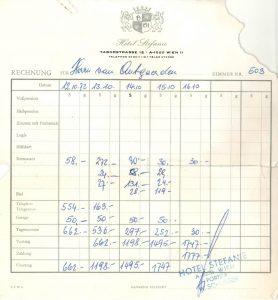 Restaurant-Rechnung aus dem Jahre 1972