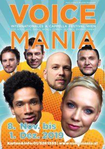 Plakat Voice Mania 2019 © Slixs, Gestaltung von Helmut Stadlmann
