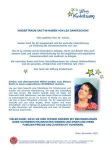 Schreiben Stiftung Kindertraum